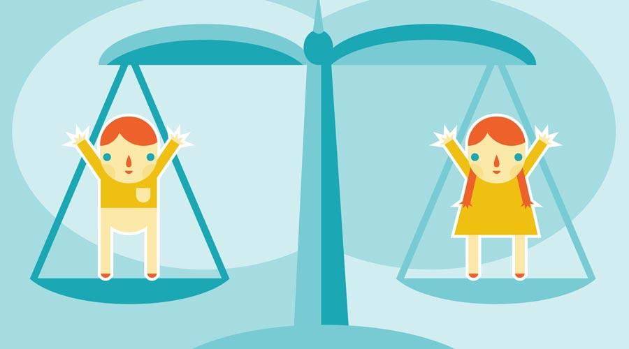symbole justice avec égalité entre deux enfants, représentant la famille